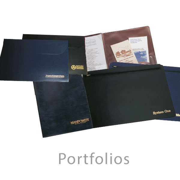Portfolios and Policy Wallets - Executive, Deluxe and Economy imprinted portfolios and presentation folders